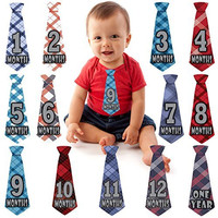 Monthly Milestone Belly Necktie Stickers for Baby Boy - Months 1-12 + One Year Sticker - 13 Pre-cut Vinyl Tie Sticker Set - Shower Gift