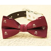 Burgundy dog bow tie, Skull bow tie attached to collar, Halloween, Skull