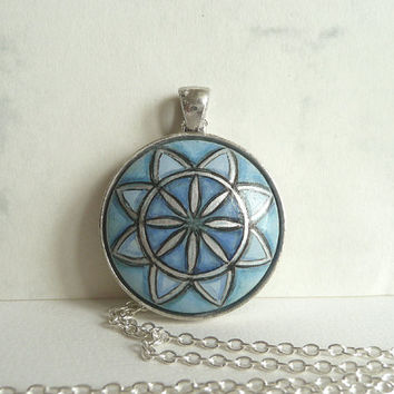 Lovely Hand Painted Necklace Sacred Geometry Necklace Pendant Blue Colors, Harmony, Small Mixed Media Painting