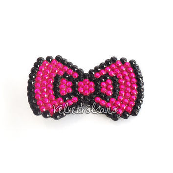 Bow Wow Crystal Encrusted Anywhere Clip - Custom Coloured Cute Kawaii Hair Bow Accessory - Kitsch Hot Pink Sparkly