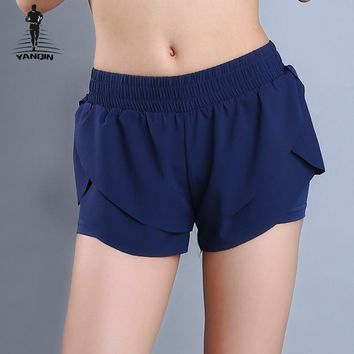 YANQIN 2018 Women Sports Shorts Outdoor Sport Running Fitness Short Summer Yoga Fitness Gym Elastic Wiast Shorts Pants