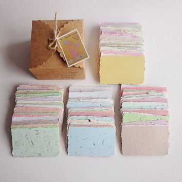 Handmade Business Cards, Blank. Hand-made, Recycled Paper. Box of 120 / Gift Tags / Calling Card /Gift Card / Florists card / Funeral cards