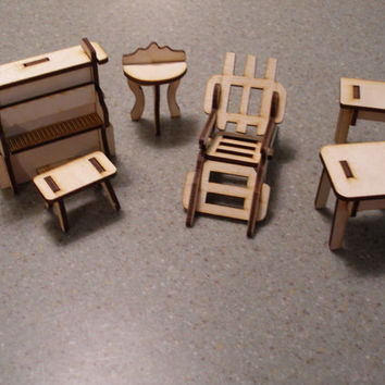 dollhouse doll house miniature furniture piano bench tables lawn chair