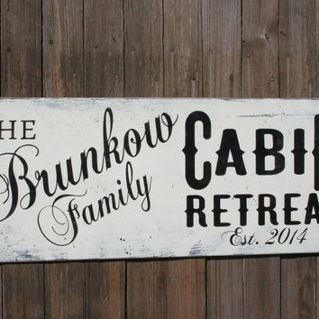 Cabin Sign Personalized Cabin Sign Custom Cabin Sign Shabby Chic Decor Primitive Wood Decor Housewarming Gift Wedding Gift Bridal Shower