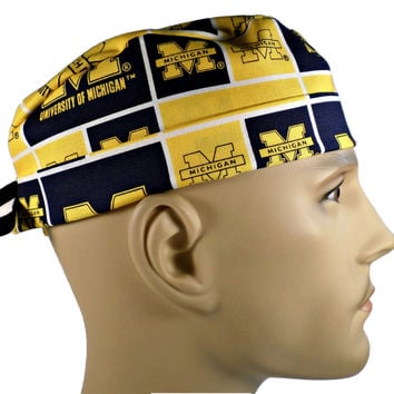 Men's Adjustable Cuffed or Un-Cuffed Surgical Scrub Hat Cap in Michigan Wolverines Squares