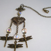 Dragonfly Hart - Rear view mirror hanging, car charm, car accessorie, mirror hanging, gift