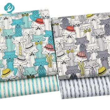 Mensugen Cartoon Fox Stripes 100% Cotton Fabric Meters Patchwork Sewing Material Baby Bedding Sheet Blanket Pillows Sewing Telas