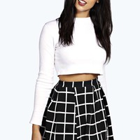 Arianna Check Textured Box Pleat Skater Skirt
