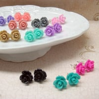 THREE PAIRS of Rose Stud Earrings - Choose Your Colors - 24 Colors to Choose From