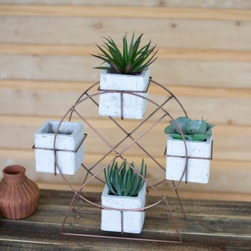 White Wash Clay With Wire Ferris Wheel Planter