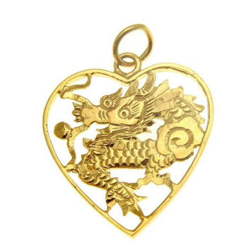 14K SOLID YELLOW GOLD DIAMOND CUT DRAGON DESIGN PENDANT HEART SHAPE