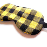 Men's Sleep Mask, Cotton Satin Fleece or Flannel Back, Yellow Gold Black Buffalo Plaid Check, Adult Man Guy Dad Husband Boy, Night Blindfold