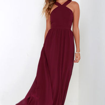Air of Romance Burgundy Maxi Dress