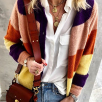 Explosion models solid color stitching casual sweater cardigan coat sweater women