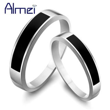 Almei 2 Pcs Couple Rings Black For Women And Men Jewelry Wedding Pair Ring Silver Color Gothic Aneis Vintage Punk Anillos J053