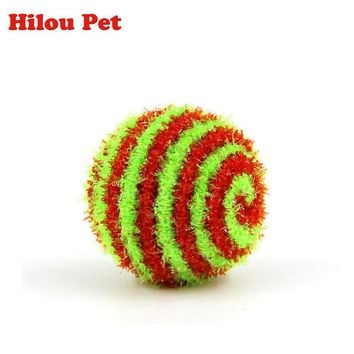 4pcs Ball Pet Dog Cat Kitten Bright Wire Squeak Ball Toy Striped Pet Ball Toys Cat Hamster Ball Trap Pet Products Dogs