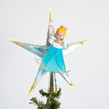 1970's Plastic Christmas Star Tree Topper, Vintage Angel Reflective Ornament by Jewel Brite