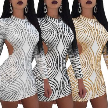 Women Sexy Sequin Printed Backless Long Sleeve Mini Dress