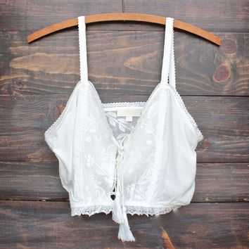 final sale - a laced up tale crop top