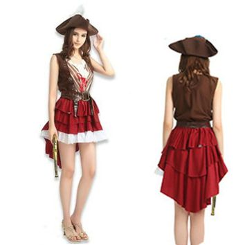 Halloween costume women Female Cosplay Pirates of the Caribbean Costumes Women Outfit Carnival Family Dress
