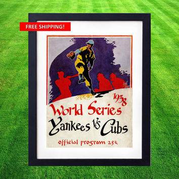 1938 World Series Vintage Baseball Print Yankees vs Cubs Program Cover Chicago New York DiMaggio Gehrig Dizzy Dean Wrigley