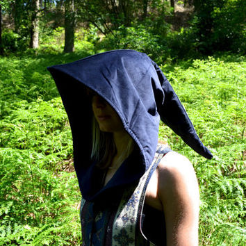 Elven Hood in Dark Blue Corduroy. Elven, Mystical, Magic, Fairy, Witch, Wizard, Cosplay, LOTR