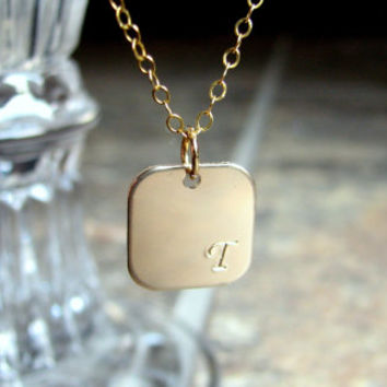 14k Gold Filled Initial Necklace- Square- Personalized- Stamped Necklace- Monogram- Simple- Modern- Gift for her under 30- Initial Jewelry