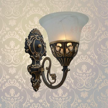 A1 Special Offer European Iron Antique Lamps Wall Lamp Bedside Bedroom Aisle Living Room Mirror Retro Wall B1-104