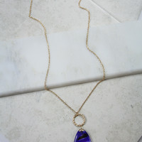 Large Purple Stone Necklace in Gold