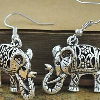 Antique Silver Plated Turkish elephant Earrings