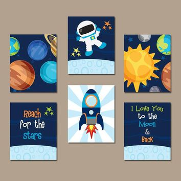 Outer Space Wall Art, Baby Boy Nursery Space Pictures, Love You to the Moon Back CANVAS or Print Rocket Theme Space Planet Decor Set of 6