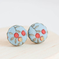 Stud earrings - Fabric studs - Floral - jewelry for girl - covered buttons earrings