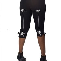 "WOMEN'S ""SKULL SPIDER"" CAPRI PANTS BY KREEPSVILLE 666 (BLACK)"