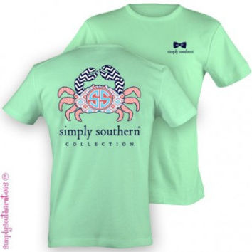 Simply Southern Preppy Crab T-Shirt on Mint