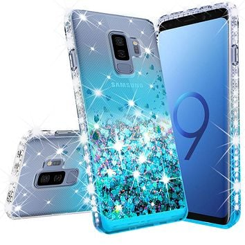 Samsung Galaxy S9 Case Liquid Glitter Phone Case Waterfall Floating Quicksand Bling Sparkle Cute Protective Girls Women Cover for Galaxy S9 - Teal