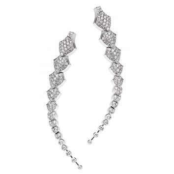 Akillis Python Pendant Earrings 18 Karat White Gold White Diamonds
