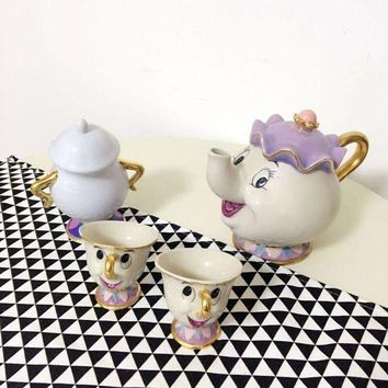 DCCKFS2 Old style Classical Cartoon Beauty And The Beast Mrs Potts 18K Goldplated Mug Coffeware Sets with full choise fast shipping