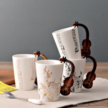 new Creative Music Violin Style Guitar Ceramic Mug Coffee Tea Milk Stave Cups with Handle Coffee Mug Novelty Gifts