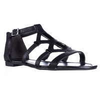 B35 Rodeo Strappy Flat Sandals, Black Snake, 6.5 US