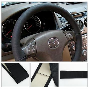Universal -Breathable Leather Steering Wheel Cover Needles Thread