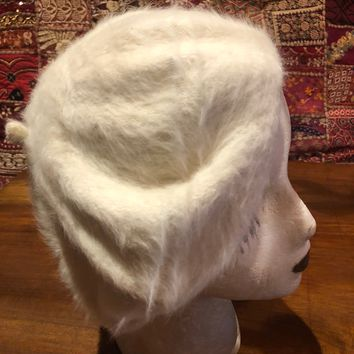 9e9754ce3a0 Vintage wool angora 10 in beret hat