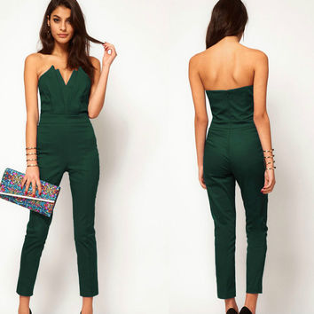 Womens V-neck Backless Sleeveless Jumpsuits Summer +Necklace