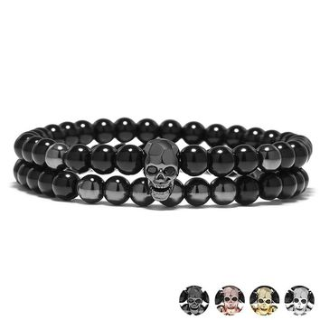 Metal Smile Skull Bracelet Elastic Black Beads