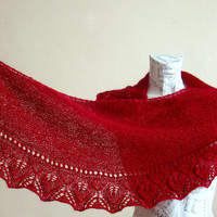Hand knitted burgundy mohair baktus shawl, Woman winter accessory,lacy leaf edge semi circular shawl