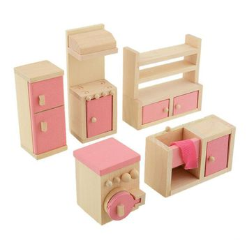 Wooden Baby Toys Doll Set Furniture Dollhouse Miniature