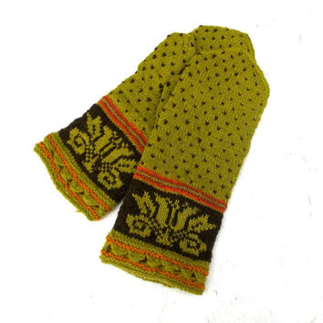 Hand knitted wool mittens, knit latvian mittens, patterned green brown ethnic mitts, handmade colorful nordic mitts, knitting adult gloves,