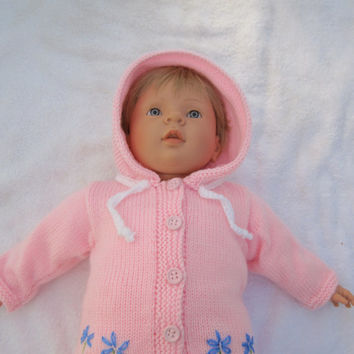 Baby Girl Sweater Hoodie Flower  Cardigan Pink  0- 24mths Free Shipping Hand Knitted