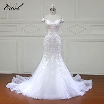 Eslieb 100% Real Photos Robe De Mariage Luxury Bride Dresses Royal Train Lace Off the shoulder Wedding Dress 2018 Vestido XFM007