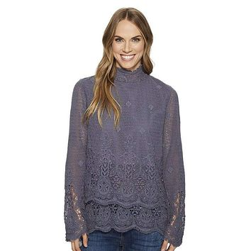 Fringed Crochet Double Layer Pullover in Vintage Blue by Dylan