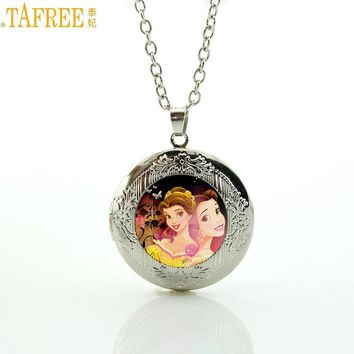 TAFREE Brand romantic cartoon princess women jewelry beauty and the beast locket pendant necklace for children girls gifts CT13